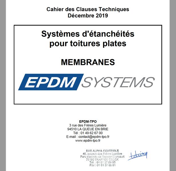 extrait de la couverture du cahier des clauses techniques EPDM SYSTEMS visé par Alpha Controle