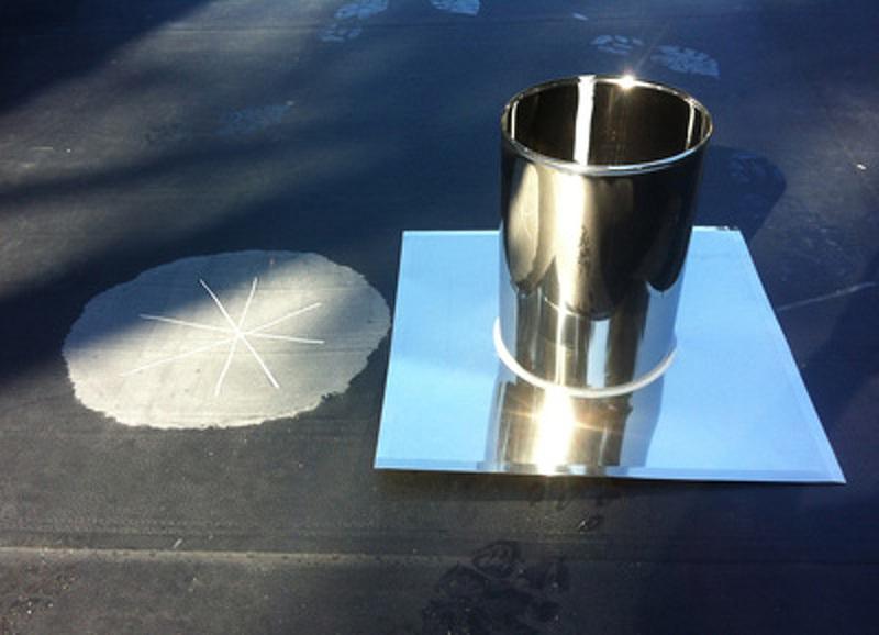 platine solin inox sur étanchéité epdm avant montage