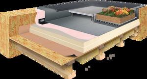 Schéma technique Epdm Systems - Toiture Chaude support bois : pare-vapeur adhésif, isolant PIR EPDM parement voile de verre, colle acrylique, membrane EPDM, finitions couvertines ; facultatif : dalles sur plots ou toiture végétale