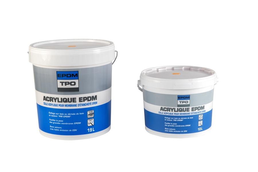 Gamme Colle Acrylique EPDM pour isolant PIR voile de verre, pot de 19 Litres et pot de 10 Litres