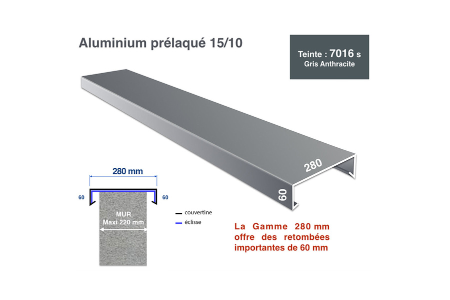 Couvertine 280mm RAL 7016 satiné - profil 3m