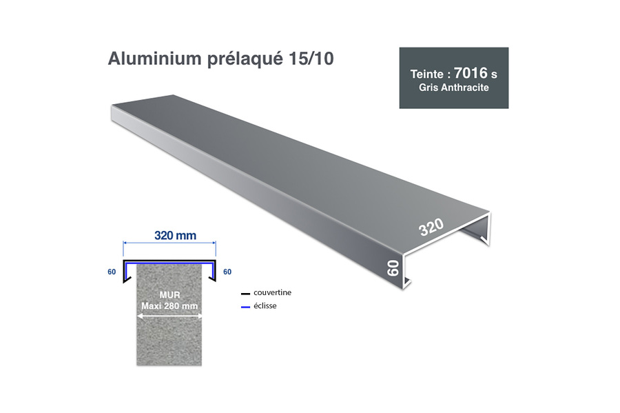 Couvertine 32 cm RAL 7016 - profil 3m