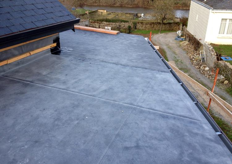 au premier plan la toiture plate est couverte en membrane EPDM, à droite on voit un chemin d'accès et la maison voisine, au fond un jardin avec un cours d'eau