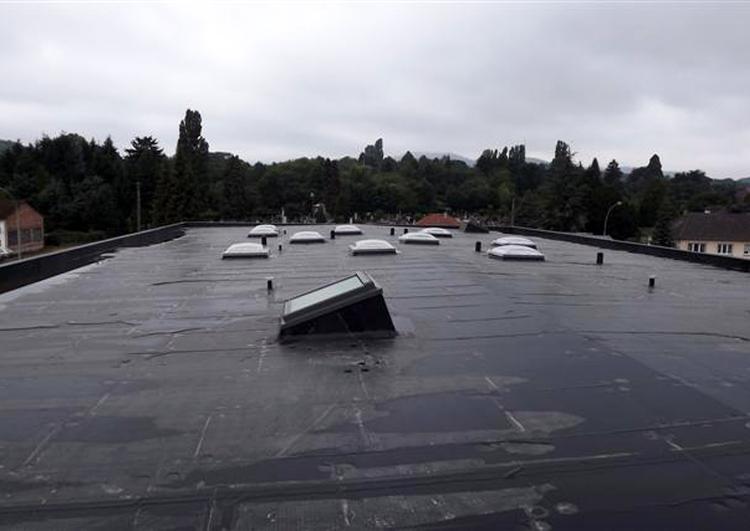 grand bâtiment industriel, toit plat couvert en membrane EPDM avec de nombreuse sorties de ventilation et puits de lumière, acrotères sur toute la périphérie, temps pluvieux, arrière plan boisé