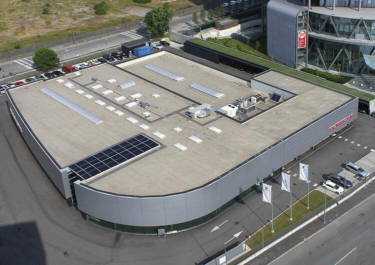 Bâtiment Porsche à Mailand, couverture membrane TPO